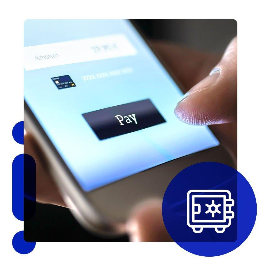 Person make an online purchase with phone