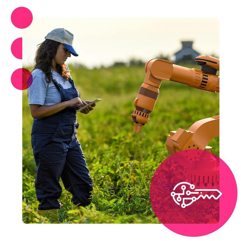 Woman and robot working at farm