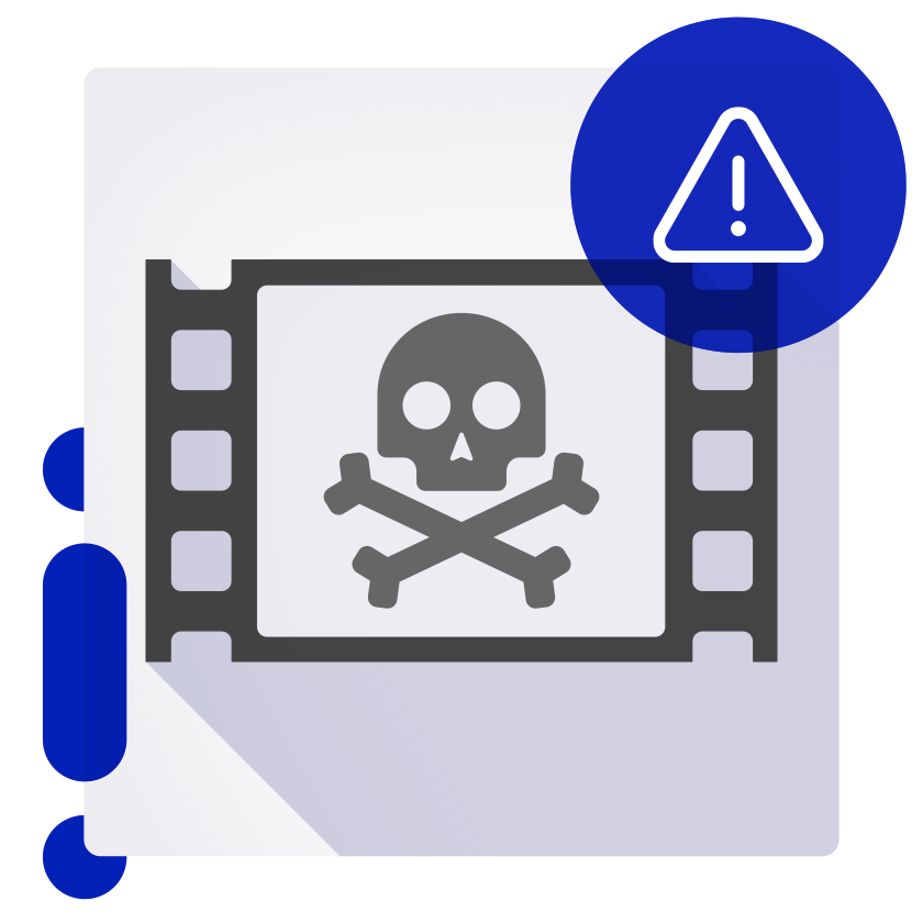 Film frame with skull and crossbones